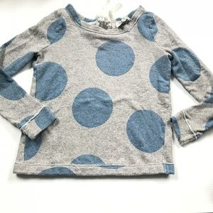 Anthro Gray Blue Tie back Polka dot sweatshirt top